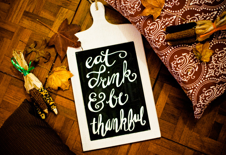 Eat, Drink & Be Thankful Chalkboard | Corinne Karl
