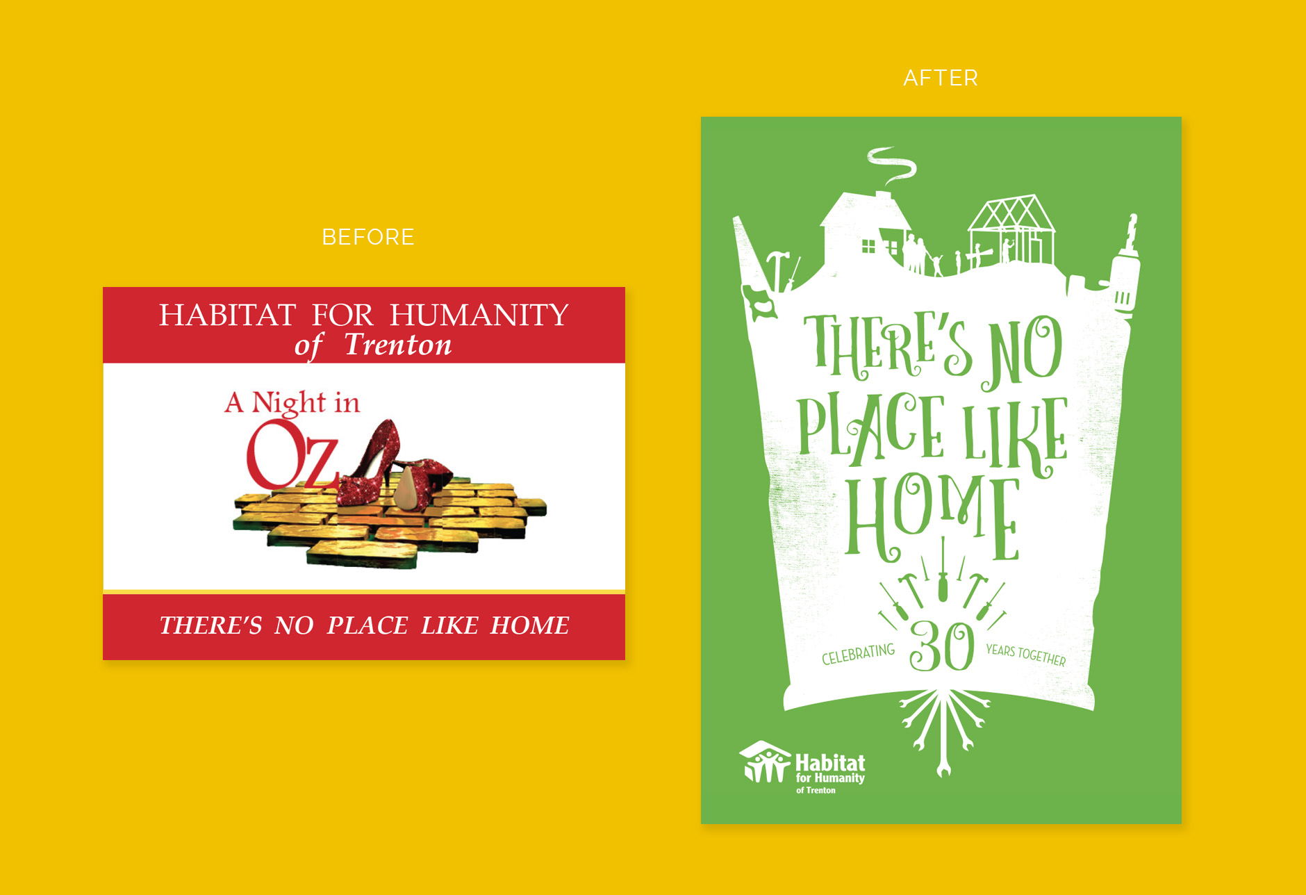 event branding, custom illustration, Wizard of Oz, No Place Like Home, Habitat for Humanity, Glinda, graphic design, event branding, infographics