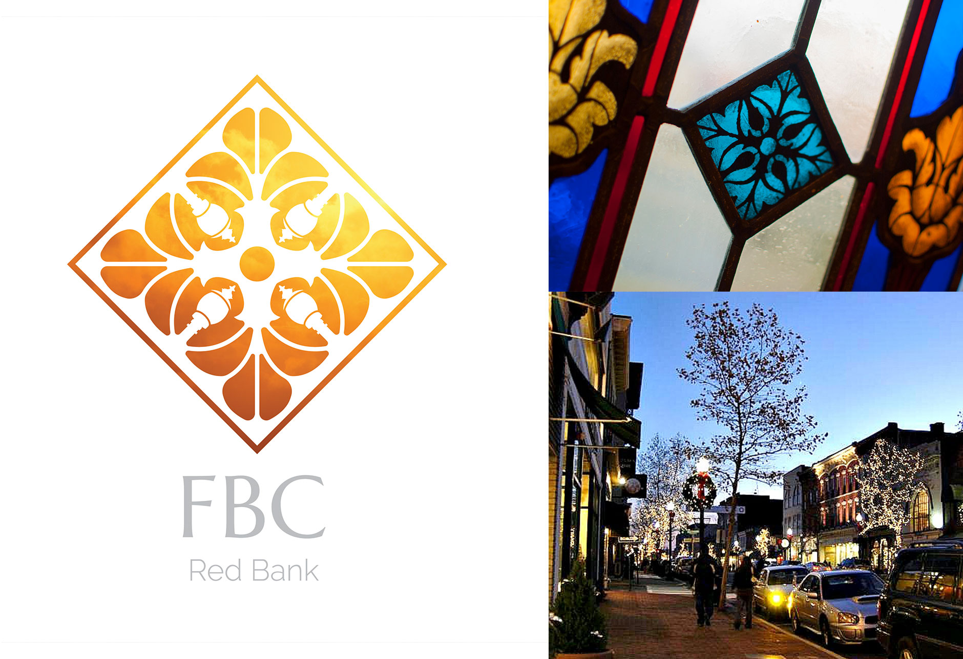 shine a light, FBC Red Bank, First Baptist Church of Red Bank, Red Bank New Jersey, logo design, brand identity, rebrand, stained glass, light